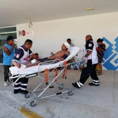 Albañil grave luego de caerle una trabe en una obra en Cristo Rey, en Playa del Carmen