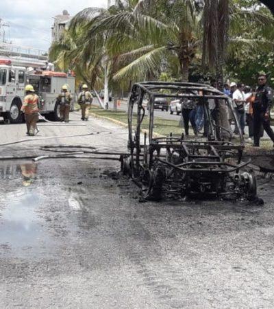 Se incendia buggy en la zona hotelera de Cozumel; no se reportan heridos