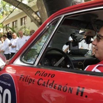 Debuta Felipe Calderón como piloto de un Porsche (prestado) y como analista político en Yucatán