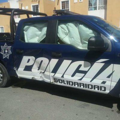 Patrulla choca a motociclista en Playa del Carmen