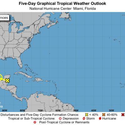 Zona de inestabilidad sobre la Península de Yucatán mantiene 30 por ciento de probabilidad de convertirse en ciclón