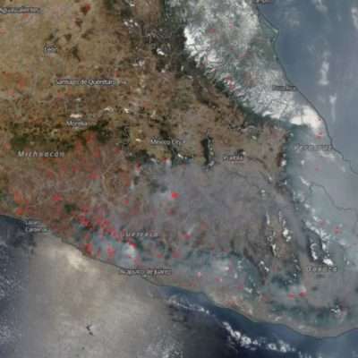 CORREDOR DE HUMO DE CHIAPAS HASTA JALISCO: Muestra la NASA contaminación del aire desde el espacio