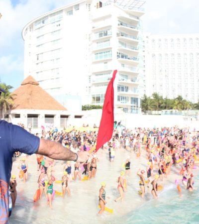 Participan más de mil nadadores en 'Cruce 2019' Cancún-Isla Mujeres