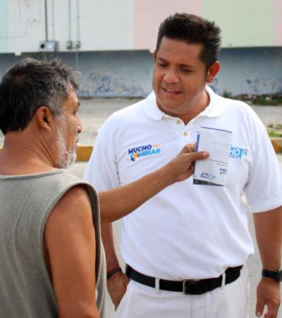 La seguridad es mi principal reto, dice Eduardo Pacho en recorrido por las calles de Cancún