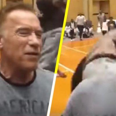 VIDEO | Dan patada voladora por la espalda a Schwarzenegger durante evento en Sudáfrica