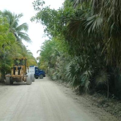 Inician los trabajos de reparación del camino a Punta Allen