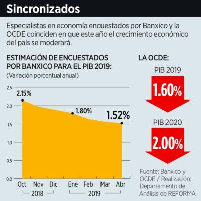 BAÑO DE AGUA FRÍA AL OPTIMISMO DE AMLO: Banxico y OCDE bajan previsiones de crecimiento económico para 2019 y 2020 en México