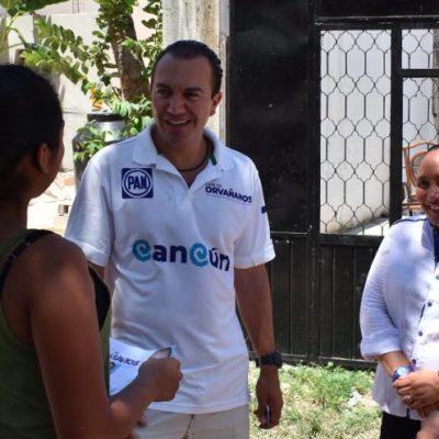 Reaparece ex alcaldesa Cristina Torres en la campaña de Carlos Orvañanos por las calles de Cancún
