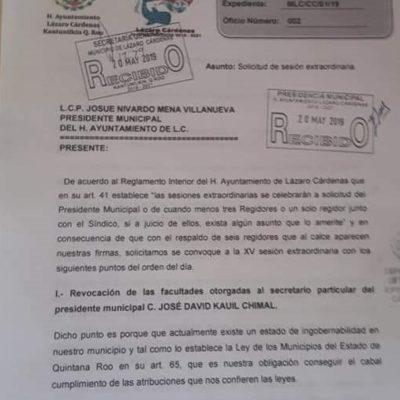 Regidores de Lázaro Cárdenas exigen a Josué Nivardo convocar a sesión extraordinaria para revocar facultades extraordinarias otorgadas a José David Kauil