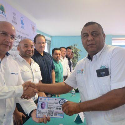 Taxistas de Playa del Carmen se 'alinean' y cumplen exigencia del Instituto de Movilidad de portar un tarjetón de identificación para seguridad del usuario