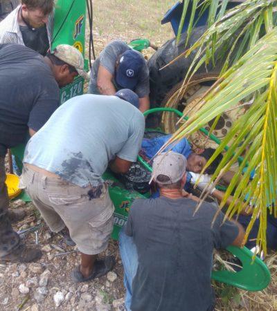 Muere joven de 18 años atascado en máquina agrícola en Othón P. Blanco
