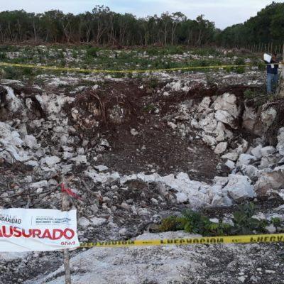 ACUSAN A ARA DE RELLENAR OTROS TRES CENOTES: Clausuran obra en construcción por denuncia de vecinos del asentamiento irregular 'Nueva Esperanza' en Playa