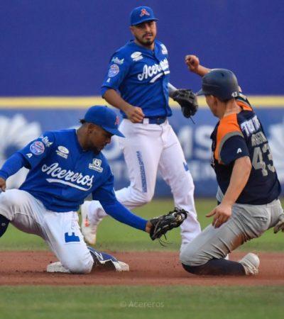 LA SERIE SE PINTÓ DE AZUL:Ataque de siete anotaciones en la quinta tanda, abrió la brecha de lo que estaba siendo un juego cerrado, para que al final Acereros de Monclova venciera 13-2 a los Tigres de Quintana Roo