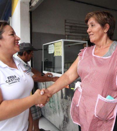 Intensifica Erika Castillo recorridos en el Distrito 6 de Cancún