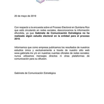 Desmienten encuesta sobre intención del voto en los 15 distritos electorales de Quintana Roo