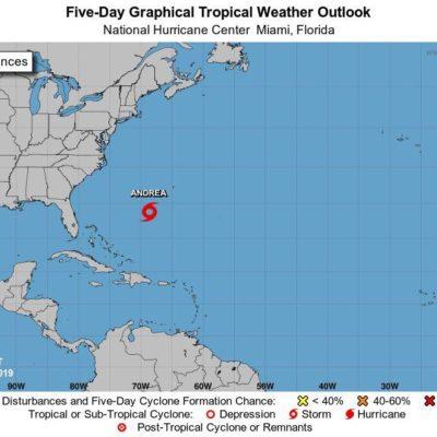 NACE LA TORMENTA SUBTROPICAL 'ANDREA': Antes del inicio de la temporada de huracanes, vigilan sistema en el Altlántico