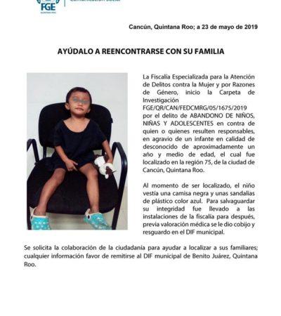 Abandonan a un niño de año y medio en plena calle en la Región 75; piden colaboración para hallar a sus padres