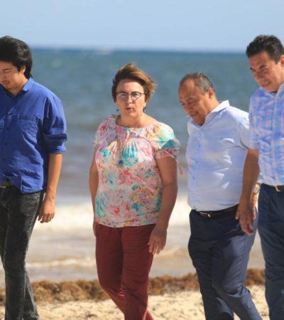 Recorre Alcaldesa playas y se compromete a redoblar esfuerzos para mantenerlas limpias de sargazo ante recale masivo de algas
