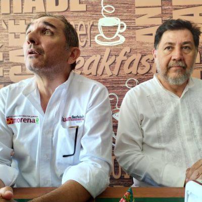 Junto a Juan Carlos Beristaín, Fernandez Noroña llama desde Playa del Carmen a votar por los candidatos de la coalición Morena-PT-PVEM