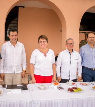 SE REÚNEN LAURA BERISTAIN, CAPELLA Y EL FISCAL: Van por coordinación operativa los tres niveles de gobierno en materia de seguridad en Solidaridad