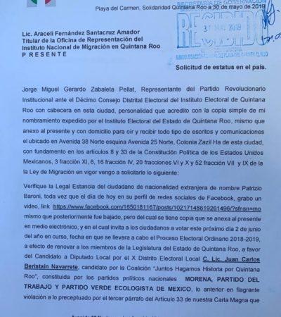 Promueve PRI expulsión de empresario italiano por inmiscuirse en política en Playa del Carmen