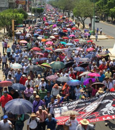 Paralizan labores docentes durante 48 horas en Chiapas; anuncian nuevos paros a mediados de mayo
