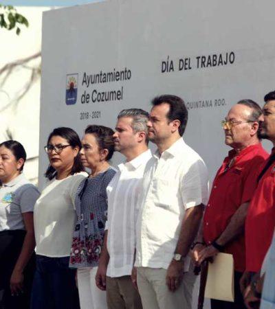 Garantiza Pedro Joaquín la libre expresión de trabajadores al presidir el Día del Trabajo