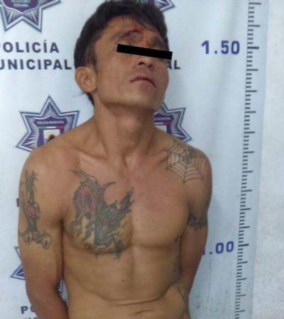 Policías de Cozumel detienen a presunto ladrón de casa-habitación
