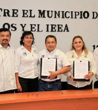 Gobierno de Puerto Morelos y el IEAA firman convenios para abatir el rezago educativo en el municipio