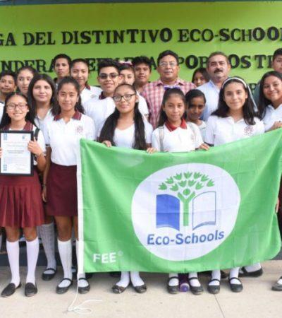 Entregan distintivo 'Eco Schools' a dos escuelas de Leona Vicario por fomentar el cuidado ambiental