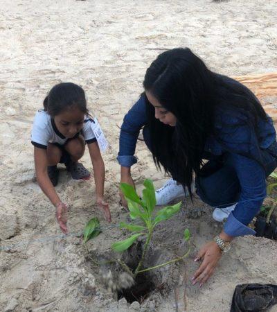 Autoridades, escuelas y personal de centros de hospedaje realizan jornada de reforestación en Isla Mujeres