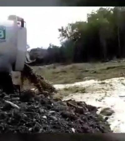 ¿DESCARGAN AGUAS NEGRAS EN UN CENOTE?: Revelan videos de presunta contaminación al subsuelo por parte de Aguakan en Playa