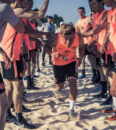 Las Águilas entrenan en Playa del Carmen