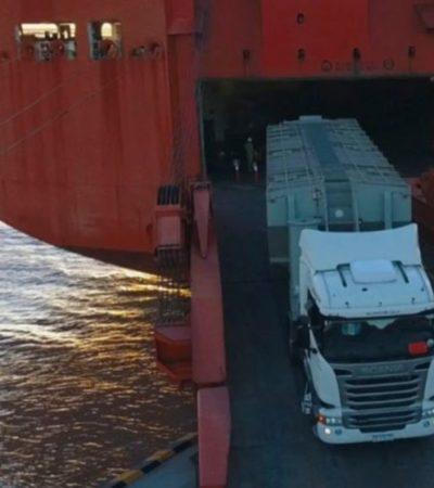 Irán camiones de carga de Veracruz a Yucatán por mar para evadir al crimen
