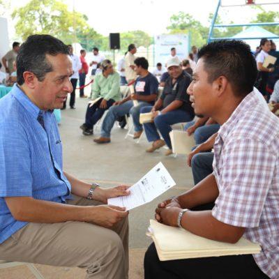 En audiencia pública, atiende Gobernador a habitantes de comunidades rurales de José María Morelos