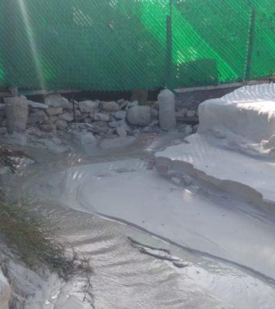 Denuncian que obra en el hotel The Fives en Puerto Morelos, desecha cemento en el mar; piden intervención de autoridades ambientales