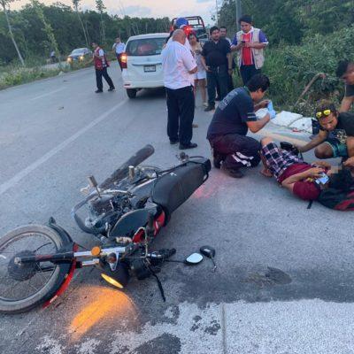 Motociclista choca y pierde parte de su tibia en Playa del Carmen