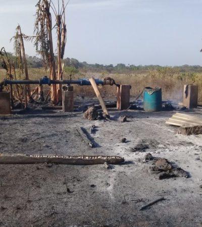 Productores de papaya pierden palapa y equipos por incendio provocado en Kantunilkín