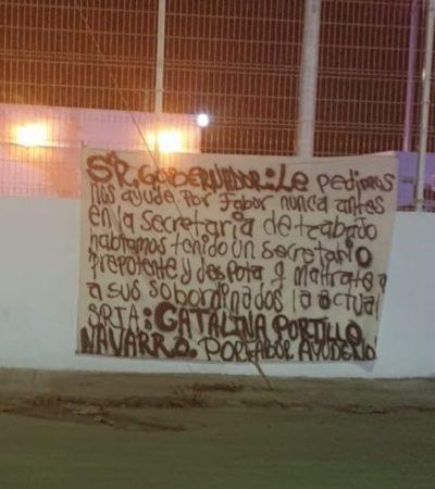 APARECE MANTA CONTRA CATALINA PORTILLA: Denuncian trabajadores el trato déspota y prepotente de la titular de la Secretaría del Trabajo y Previsión Social