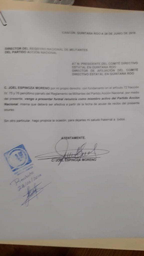 Renuncia Joel Espinoza a 30 años de militancia en el PAN