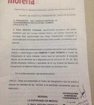 Morena interpone recurso de nulidad de la elección en el Distrito 10