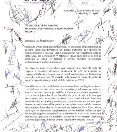 Trabajadores sindicalizados de la Uqroo denuncian desinterés del rector para revisar el contrato colectivo de trabajo