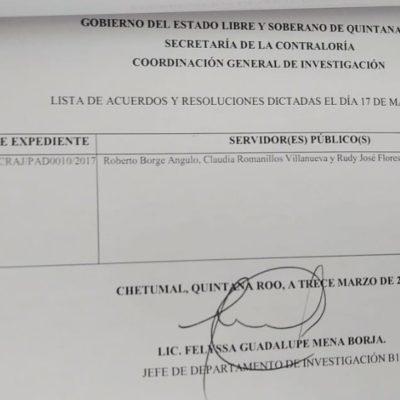 La Secretaría de la Contraloría de QR notifica a través de edictos las resoluciones en torno al procedimiento de responsabilidad administrativa contra Roberto Borge y Claudia Romanillos