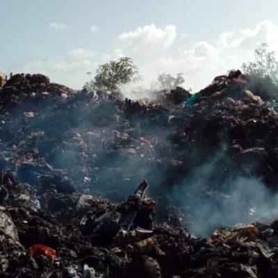 Recomienda ayuntamiento de OPB suspender actividades al aire libre a habitantes en los alrededores del basurero municipal ante generación de humo consecuencia de incendio que se registra desde el sábado