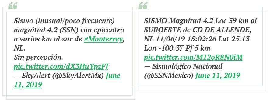 Reportan sismo de 4.2 que nadie sintió en Nuevo León, pero sí en la CDMX… según redes sociales