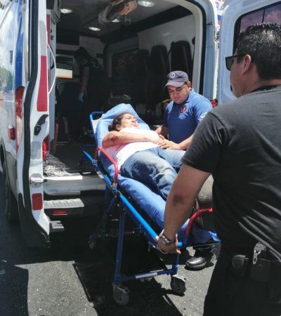 CAFRE EN FUGA: Cae mujer con bebé de camión en Playa del Carmen