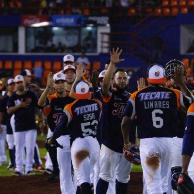 TIGRES SE ADELANTA EN LA GUERRA CIVIL:Un doble robo y par de errores, llevaron a los Tigres de Quintana Roo a imponerse en un emocionante juego 8-3 a los Diablos Rojos del México