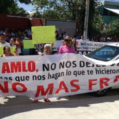 Morenistas se manifiestan frente a la sede del Ieqroo en Playa; exigen que no se permita fraude electoral