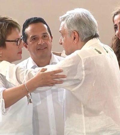 """""""QUE NO HAYA PROBLEMAS ENTRE NOSOTROS"""": Pide AMLO a Carlos Joaquín y Laura Beristain trabajar juntos"""