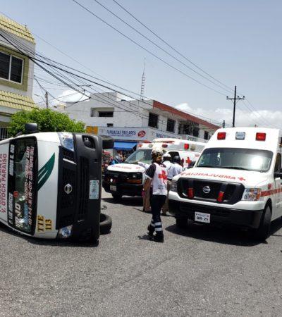 APARATOSO CHOQUE DE COMBIS EN CANCÚN: Saldo preliminar de unos 15 heridos por encontronazo en la Región 95